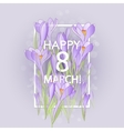 Floral frame with crocuses and snowdrops Purple vector image