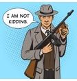 Gangster with machine gun pop art style vector image