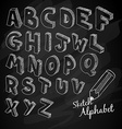 Hand Drawn 3D sketch alphabet Over a chalkboard vector image