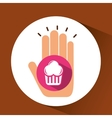 two hands holding muffins vector image