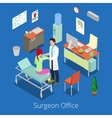 Isometric Surgeon Office with Doctor Patient vector image