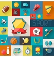 Background with sport icons in flat design style vector image