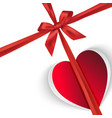 paper gift heart isolated on white vector image vector image