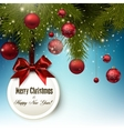 Christmas gift card with red ribbon and red vector image