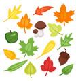 cartoon style set of autumn symbols vector image