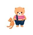 Little Bear Cub holding a Teddy Toy vector image