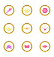 little princess icons set cartoon style vector image