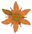 Round floral ornament made of baked clay vector image