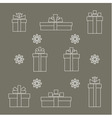 set of simple linear gift boxes and snowflake vector image