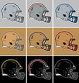 Colored football helmets in silver gold black vector image vector image