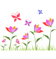 paper flowers and butterfly vector image vector image