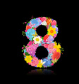 Fun number of fancy flowers on black background 8 vector image vector image
