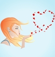 girl blowing petals vector image