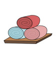 color image cartoon set of rolled up colored vector image