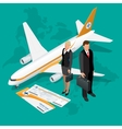 Business travel isometric composition Travel and vector image