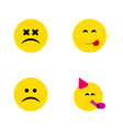 flat icon face set of cross-eyed face sad vector image