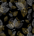 Gold hand drawn fall leaves seamless pattern vector image