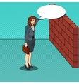 Pop Art Business Woman in Front of a Brick Wall vector image