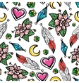 Seamless pattern with flowers and feathers vector image