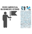 Commander With Flag Icon with 1000 Medical vector image