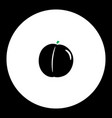 Peach fruit simple black and green icon eps10 vector image