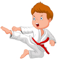Little boy training karate vector image