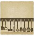 Kitchen Utensil Set old background vector image