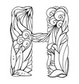 black and white freehand drawing capital letter h vector image