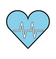 blue heart beat pulse vector image