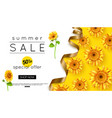 design summer sale banner with sunflower vector image