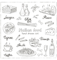 hand drawn set with italian food Vintage vector image