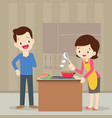 man and woman in the kitchen vector image