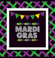 mardi gras poster dotted lettering garland feather vector image