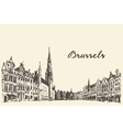 Streets in Brussels engraved drawn sketch vector image