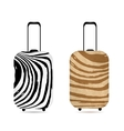 Travel suitcase with zebra print for your design vector image