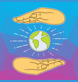 two hands holding a globe abstract logo vector image