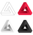 abstract impossible triangle set vector image