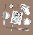 japanese sushi set serving plate hand holding vector image