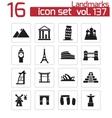 black landmark icons set vector image