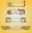 Set with Vintage Ribbon Sketches vector image