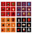 assembly flat icons halloween symbols vector image