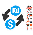 Dollar shekel exchange icon with lovely bonus vector image