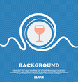 glass of wine sign icon Blue and white abstract vector image