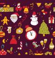 new year christmas dark seamless pattern vector image