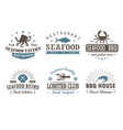 set of vintage seafood barbecue logo templates vector image