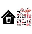 Trash House Flat Icon with Bonus vector image