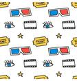 Cinema movie doodles seamless pattern background vector image