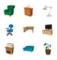 Home furnishings icons set cartoon style vector image