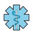 blue caduceus medical shield vector image
