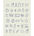 Kitchen icons for cafe menu restaurant vector image